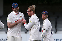 Simon Harmer of Essex celebrates with his team mates after taking the wicket of Charlie Morris during Essex CCC vs Worcestershire CCC, LV Insurance County Championship Group 1 Cricket at The Cloudfm County Ground on 11th April 2021