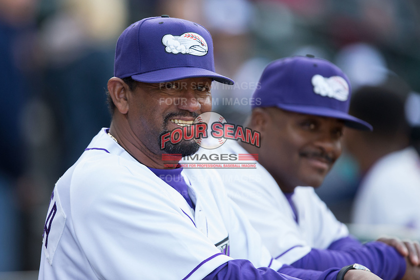 Winston-Salem Dash pitching coach Jose Bautista (left) and hitting coach Charles Poe prior to the game against the Salem Red Sox at BB&T Ballpark on April 15, 2016 in Winston-Salem, North Carolina.  The Red Sox defeated the Dash 3-2.  (Brian Westerholt/Four Seam Images)