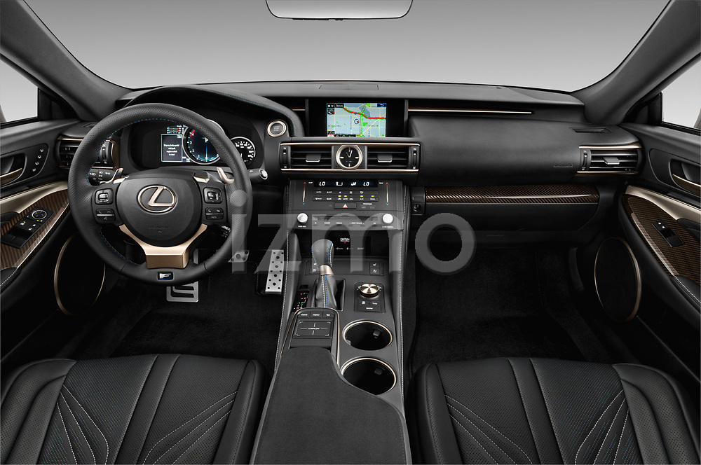 Stock photo of straight dashboard view of a 2018 Lexus RC F 3 Door Coupe