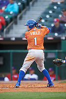 Durham Bulls center fielder Johnny Field (1) at bat during a game against the Buffalo Bisons on June 13, 2016 at Coca-Cola Field in Buffalo, New York.  Durham defeated Buffalo 5-0.  (Mike Janes/Four Seam Images)