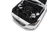 Car stock 2018 Genesis G80 RWD 4 Door Sedan engine high angle detail view