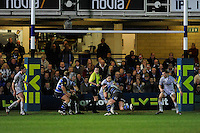 Lee Mears of Bath Rugby attacks the Leicester Tigers line during the LV= Cup semi final match between Bath Rugby and Leicester Tigers at The Recreation Ground, Bath (Photo by Rob Munro, Fotosports International)