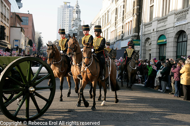 King's Troop Royal Horse Artillery march through Woolwich on their way to their new home nearby 2012