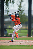 GCL Astros Jose Alvarez (6) at bat during a Gulf Coast League game against the GCL Nationals on August 9, 2019 at FITTEAM Ballpark of the Palm Beaches training complex in Palm Beach, Florida.  GCL Nationals defeated the GCL Astros 8-2.  (Mike Janes/Four Seam Images)