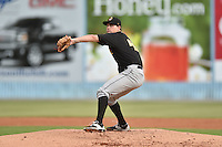 West Virginia Power starting pitcher Colten Brewer (48) delivers a pitch during a game against the Asheville Tourists on August 7, 2015 in Asheville, North Carolina. The Power defeated the Tourists 7-5. (Tony Farlow/Four Seam Images)