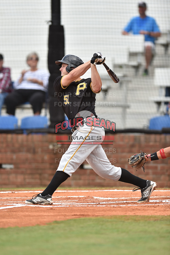 Bristol Pirates first baseman Jerrick Suiter #50 swings at a pitch during a game against the Johnson City Cardinals at Howard Johnson Field July 20, 2014 in Johnson City, Tennessee. The Pirates defeated the Cardinals 4-3. (Tony Farlow/Four Seam Images)