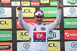 Sergio Andre Higuita (COL) EF Pro Cycling retains the young riders White Jersey on the podium at the end of Stage 6 of the 78th edition of Paris-Nice 2020, running 161.5km from Sorgues to Apt, France. 13th March 2020.<br /> Picture: ASO/Fabien Boukla | Cyclefile<br /> All photos usage must carry mandatory copyright credit (© Cyclefile | ASO/Fabien Boukla)