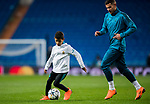 Cristiano Ronaldo Jr, son of Cristiano Ronaldo of Real Madrid, plays with a ball with Theo Hernandez after the UEFA Champions League 2017-18 Round of 16 (1st leg) match between Real Madrid vs Paris Saint Germain at Estadio Santiago Bernabeu on February 14 2018 in Madrid, Spain. Photo by Diego Souto / Power Sport Images
