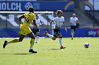 Yan Dhanda of Swansea City in action during the Sky Bet Championship match Swansea City and Wycombe Wanderers at Liberty Stadium in Swansea, Wales. Sporting stadiums around the UK remain under strict restrictions due to the Coronavirus Pandemic as Government social distancing laws prohibit fans inside venues resulting in games being played behind closed doors.<br /> Saturday 17 April 2021