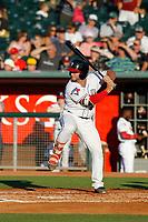 Lansing Lugnuts first baseman Ryan Gold (22) at bat during a game against the Dayton Dragons at Cooley Law School Stadium on August 10, 2018 in Lansing, Michigan. Lansing defeated Dayton 11-4.  (Robert Gurganus/Four Seam Images)