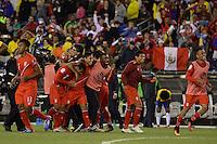 Action photo during the match Brasil vs Peru at Gillette Stadium Copa America Centenario 2016. ---Foto  de accion durante el partido Brasil vs Peru , En el Estadio Gillette Partido Correspondiante al Grupo - B -  de la Copa America Centenario USA 2016, en la foto: festejo de gol de Raul Ruidiaz<br /> -- 12/06/2016/MEXSPORT/Adrian Macias.