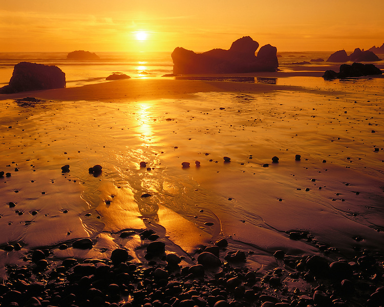 Sunset at low tide on Crescent Beach/Cannon Beach; Ecola State Park, OR