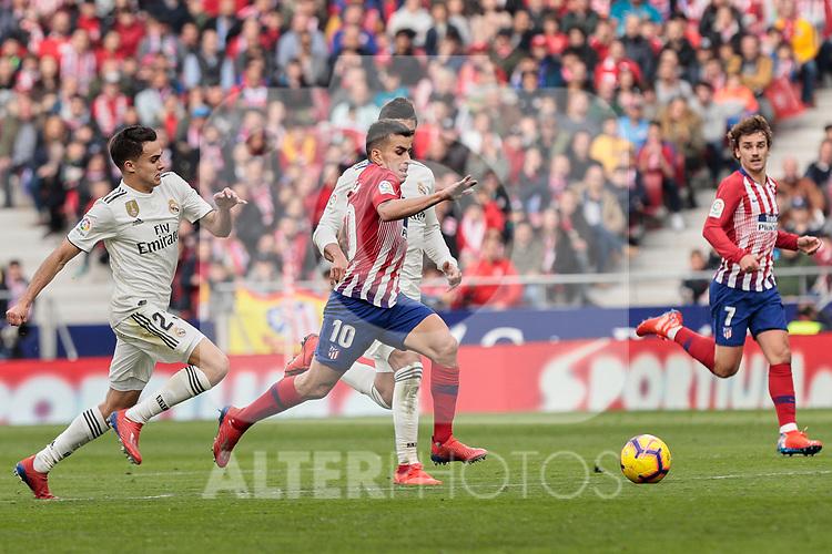 Atletico de Madrid's Angel Martin Correa and Real Madrid's Sergio Reguilon during La Liga match between Atletico de Madrid and Real Madrid at Wanda Metropolitano Stadium in Madrid, Spain. February 09, 2019. (ALTERPHOTOS/A. Perez Meca)
