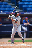 Brevard County Manatees third baseman Taylor Brennan (12) at bat during a game against the St. Lucie Mets on April 17, 2016 at Tradition Field in Port St. Lucie, Florida.  Brevard County defeated St. Lucie 13-0.  (Mike Janes/Four Seam Images)