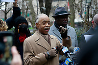 NEW YORK, NEW YORK-JANUARY 11: Civil Rights Attorney Ben Crump, Keyon Harrold, Sr., Kat Rodriguez, parents of Keyon Harrold, Jr., Gewn Carr, mother of Eric Garner and Rev, Al Sharpton attend press conference updating the public on the arresting of Miya Ponsetta for assault, attempted robbery, addressing the concerns on racial profiling and calling on the Arlo Hotel to apologize for the mishandling of the attack on the guest, 14-year old Keyon Harrold Jr. by Miya Ponsetta who violently attacked and accused Keyon Harrold Jr. of theft of her cell phone, which was later found by a driver of a car service several weeks prior. Press conference was held at City Hall Park on January 11, 2021.    Photo Credit: mpi43/MediaPunch