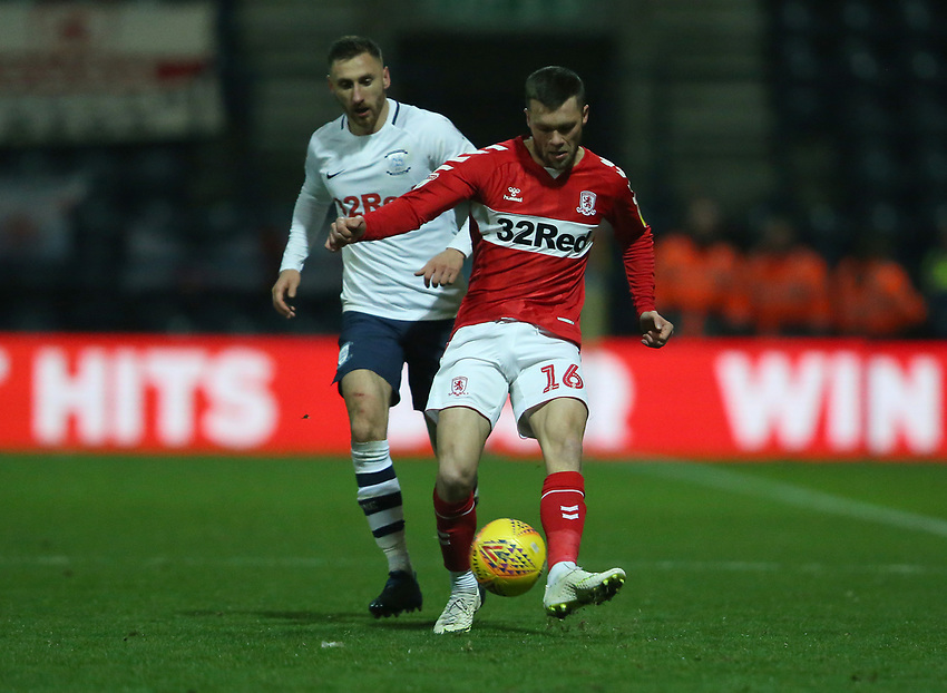 Middlesbrough's Jonathan Howson shields the ball from Preston North End's Louis Moult<br /> <br /> Photographer Stephen White/CameraSport<br /> <br /> The EFL Sky Bet Championship - Preston North End v Middlesbrough - Tuesday 27th November 2018 - Deepdale Stadium - Preston<br /> <br /> World Copyright © 2018 CameraSport. All rights reserved. 43 Linden Ave. Countesthorpe. Leicester. England. LE8 5PG - Tel: +44 (0) 116 277 4147 - admin@camerasport.com - www.camerasport.com