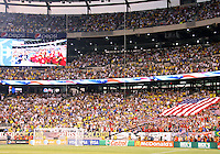 Fans of the USA during an international friendly match against Brazil in Giants Stadium, on August 10 2010, in East Rutherford, New Jersey.Brazil won 2-0.