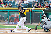Luis Jimenez (7) of the Salt Lake Bees at bat against the Sacramento River Cats at Smith's Ballpark on June 6, 2014 in Salt Lake City, Utah.  (Stephen Smith/Four Seam Images)