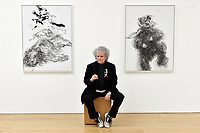 London, UK - 14 October 2020<br /> British artist Maggi Hambling with (L) Lion in enclosure, 2019 and Young dancing bear, 2019, at her new exhibition at Marlborough Gallery, where she has a solo exhibition to coinciding with her 75th birthday, featuring recent paintings responding to the seismic events of the present, works include a new series of self-portraits created in lockdown, a series depicting wild animals facing threat and intimate portraits of people laughing.<br /> CAP/JOR<br /> ©JOR/Capital Pictures
