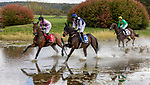 October 23, 2021: (1) Bodes Well (IRE) and Thomas Garner and (3) Cracker Factory (GB) and Sean McDermott and (2) A Silent Player (IRE) and Parker Hendricks on the practice run in the Steeplethon Stakes on VA Gold Cup Day at The Plains in The Plains, V.A. on October 23rd, 2021. Tim Sudduth/Eclipse Sportswire/CSM