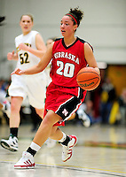 4 January 2010: University of Nebraska Cornhuskers' forward Katya Leick, a Freshman from Grey Cloud Township, Minnesota, in action against the University of Vermont Catamounts at Patrick Gymnasium in Burlington, Vermont. The Huskers, finishing off their first perfect non-conference season in school history, improved to 13-0 with the 94-50 win over the Lady Cats. Mandatory Credit: Ed Wolfstein Photo