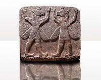 "Picture of Neo-Hittite orthostat describing the legend of Gilgamesh from Karkamis,, Turkey. Museum of Anatolian Civilisations, Ankara. Symetrical mythological Scene depicting ""Winged Griffin Demons"", half men with birds heads & wings. Their hands are raised above their heads supposidly carrying the sky. 2"