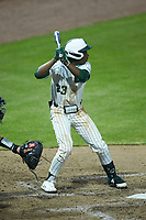Gino Groover (23) of the Charlotte 49ers at bat against the Appalachian State Mountaineers at Atrium Health Ballpark on March 23, 2021 in Kannapolis, North Carolina. (Brian Westerholt/Four Seam Images)