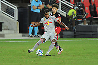 WASHINGTON, DC - SEPTEMBER 12: Cristian Casseres Jr. #23 of New York Red Bulls battles for the ball with Kevin Paredes #30 of D.C. United during a game between New York Red Bulls and D.C. United at Audi Field on September 12, 2020 in Washington, DC.