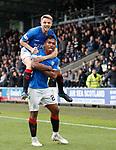 03.11.18 St Mirren v Rangers: Alfredo Morelos celebrates his goal with Jordan Rossiter
