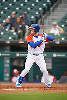 "Buffalo Bisons Billy McKinney (11) at bat during an International League game against the Scranton/Wilkes-Barre RailRiders on June 5, 2019 at Sahlen Field in Buffalo, New York.  The Bisons wore special uniforms as they played under the name the ""Buffalo Wings"". Scranton defeated Buffalo 3-0, the first game of a doubleheader. (Mike Janes/Four Seam Images)"