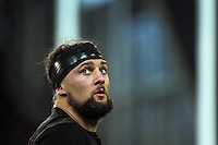 Elliot Dixon sings along with fans during the Steinlager Series rugby union match between the New Zealand All Blacks and Wales at Forsyth Barr Stadium, Wellington, New Zealand on Saturday, 25 June 2016. Photo: Dave Lintott / lintottphoto.co.nz