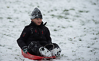 A young boy having fun on his sledge in the park following Heavy Snowfall at Sidcup, Kent, England on the 8 February 2021. Photo by Alan Stanford.