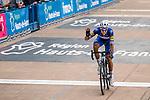 Niki TERPSTRA from the Netherlands of Quick-Step Floors finishing 3rd during the 2018 Paris-Roubaix race, Velodrome Roubaix, France, 8 April 2018, Photo by Thomas van Bracht / PelotonPhotos.com | All photos usage must carry mandatory copyright credit (Peloton Photos | Thomas van Bracht)