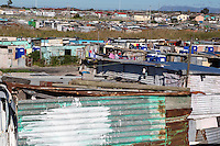 South Africa, Cape Town, Khayelitsha Township.  Note Blue Outdoor Portable Toilets.