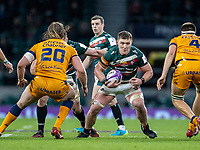 21st May 2021; Twickenham, London, England; European Rugby Challenge Cup Final, Leicester Tigers versus Montpellier; Jasper Wiese of Leicester Tigers powers towards Florian Verhaeghe and Jacques Du Plessis of Montpellier Rugby