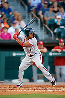 Syracuse Chiefs second baseman Adrian Sanchez (7) bats during a game against the Buffalo Bisons on July 6, 2018 at Coca-Cola Field in Buffalo, New York.  Buffalo defeated Syracuse 6-4.  (Mike Janes/Four Seam Images)