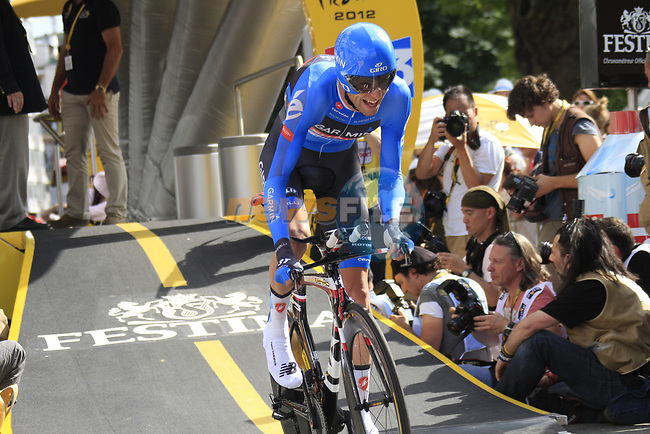 Ryder Hesjedal (CAN) Garmin Barracuda sets off the start ramp of the Prologue of the 99th edition of the Tour de France 2012, a 6.4km individual time trial starting in Parc d'Avroy, Liege, Belgium. 30th June 2012.<br /> (Photo by Eoin Clarke/NEWSFILE)
