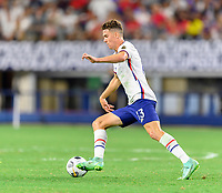 DALLAS, TX - JULY 25: Matthew Hoppe #13 of the United States brings the ball up the field during a game between Jamaica and USMNT at AT&T Stadium on July 25, 2021 in Dallas, Texas.