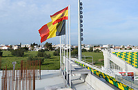 20180228 - LARNACA , CYPRUS :  a Big Belgian flag pictured next to a small Spanish one during a women's soccer game between Spain and the Belgian Red Flames , on friday 2 March 2018 at the AEK Arena in Larnaca , Cyprus . This is the second  game in group B for  Belgium during the Cyprus Womens Cup , a prestigious women soccer tournament as a preparation on the World Cup 2019 qualification duels. PHOTO SPORTPIX.BE | DAVID CATRY