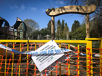 Play Areas locked up and closed in  Hughenden Park in High Wycombe during Easter bank holiday Monday during the Covid-19 Pandemic as the UK Government advice to maintain social distancing and minimise time outside in High Wycombe on 13 April 2020. Photo by PRiME Media Images.