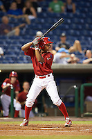 Clearwater Threshers Luis Espiritu, Jr. at bat during the first game of a doubleheader against the Jupiter Hammerheads on July 25, 2015 at Bright House Field in Clearwater, Florida.  Clearwater defeated Jupiter 2-1.  (Mike Janes/Four Seam Images)