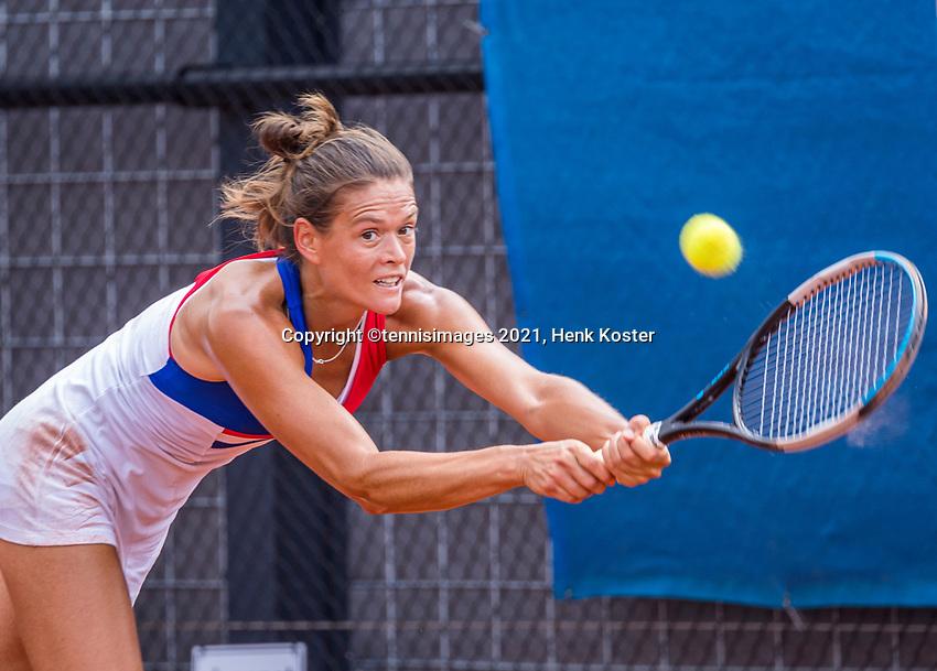 Amstelveen, Netherlands, 7 Juli, 2021, National Tennis Center, NTC, Amstelveen Womans Open, Ohloe Paquet (FRA)<br /> Photo: Henk Koster/tennisimages.com
