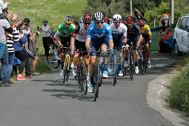 The lead group climb during Stage 6 of the Itzulia Basque Country 2021, running 111.9km from Ondarroa to Arrate, Spain. 10th April 2021.  <br /> Picture: Luis Angel Gomez/Photogomezsport   Cyclefile<br /> <br /> All photos usage must carry mandatory copyright credit (© Cyclefile   Luis Angel Gomez/Photogomezsport)