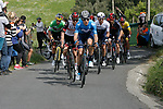 The lead group climb during Stage 6 of the Itzulia Basque Country 2021, running 111.9km from Ondarroa to Arrate, Spain. 10th April 2021.  <br /> Picture: Luis Angel Gomez/Photogomezsport | Cyclefile<br /> <br /> All photos usage must carry mandatory copyright credit (© Cyclefile | Luis Angel Gomez/Photogomezsport)