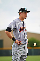 Jupiter Hammerheads Ryan Aper (3) before a game against the Lakeland Flying Tigers on April 14, 2016 at Henley Field in Lakeland, Florida.  Lakeland defeated Jupiter 5-0.  (Mike Janes/Four Seam Images)