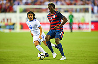 Philadelphia, PA - Wednesday July 19, 2017: Gerson Mayen, Gyasi Zardes during a 2017 Gold Cup match between the men's national teams of the United States (USA) and El Salvador (SLV) at Lincoln Financial Field.