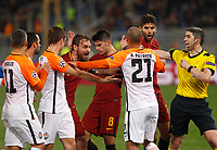 Roma and Shakhtar Donetsk players argue as referee Undiano Mallendo, right, stop them during their Uefa Champions League round of 16 second leg soccer match at Rome's Olympic stadium, March 13, 2018. Roma won. 1-0 to join the quarter finals.<br /> UPDATE IMAGES PRESS/Riccardo De Luca