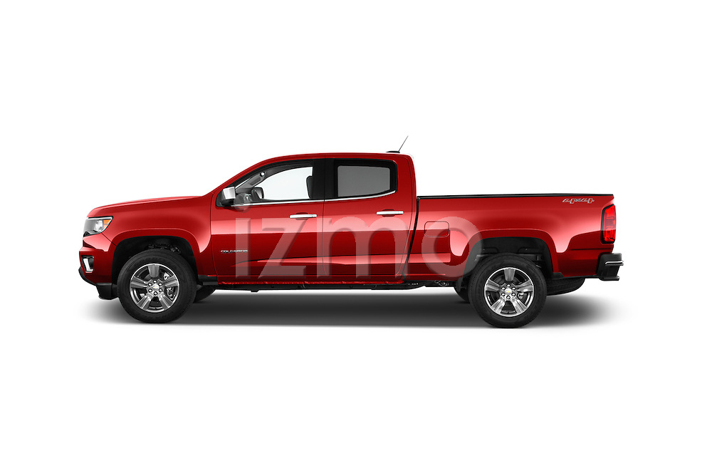 Car Driver side profile view of a 2017 Chevrolet Colorado LT Crew Cab Long Box 4 Door Truck Side View