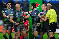 Dan Evans (centre) of Ospreys celebrates scoring his sides first try with team mates during the Heineken Champions Cup Round 5 match between the Ospreys and Saracens at the Liberty Stadium in Swansea, Wales, UK. Saturday January 11 2020.