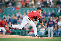 Rochester Red Wings relief pitcher Drew Rucinski (18) follows through on a pitch during the first game of a doubleheader against the Scranton/Wilkes-Barre RailRiders on August 23, 2017 at Frontier Field in Rochester, New York.  Rochester defeated Scranton 5-4 in a game that was originally started on August 22nd but postponed due to inclement weather.  (Mike Janes/Four Seam Images)